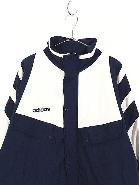 [2] 古着 90s adidas BIG プリント ライン切替 パデット ナイロン ベンチ コート L 古着