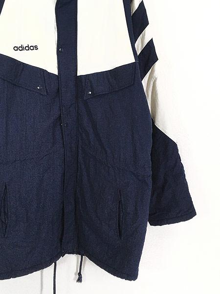 [3] 古着 90s adidas BIG プリント ライン切替 パデット ナイロン ベンチ コート L 古着