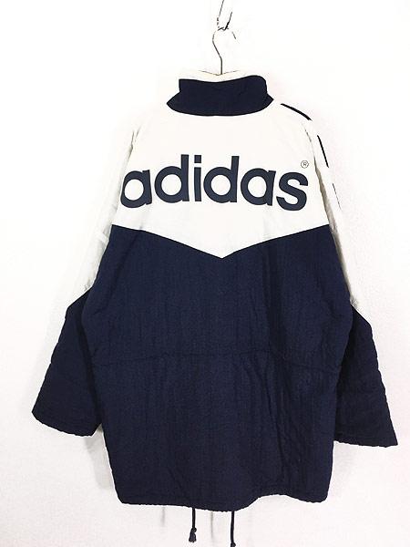 [4] 古着 90s adidas BIG プリント ライン切替 パデット ナイロン ベンチ コート L 古着