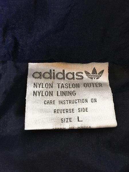 [7] 古着 90s adidas BIG プリント ライン切替 パデット ナイロン ベンチ コート L 古着