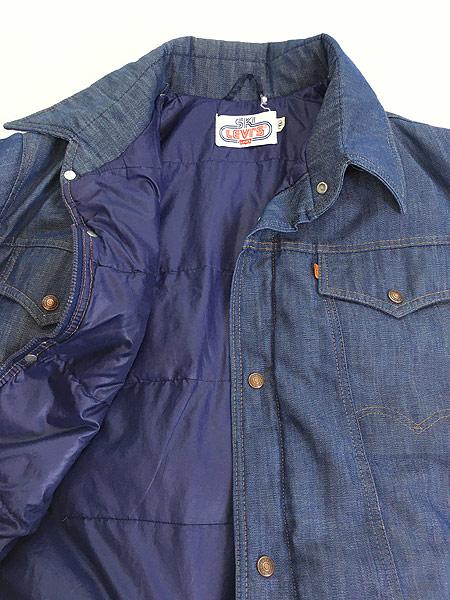 [6] 古着 70s USA製 Ski Levi's 濃紺 デニム グーズ ダウン ジャケット XL 古着