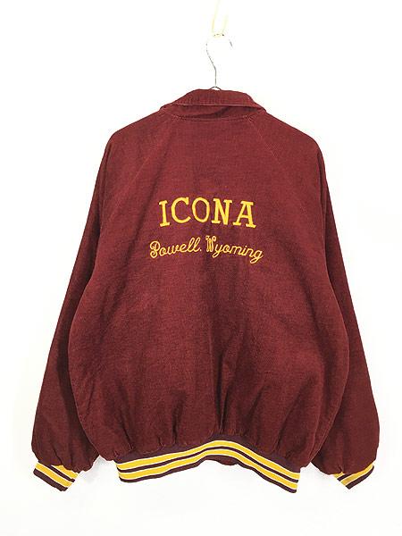 [4] 古着 80s USA製 HARTWELL 「ICONA」 刺しゅう パデット コーデュロイ スタジャン XL 古着