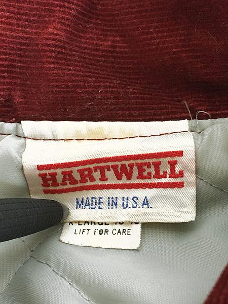 [8] 古着 80s USA製 HARTWELL 「ICONA」 刺しゅう パデット コーデュロイ スタジャン XL 古着