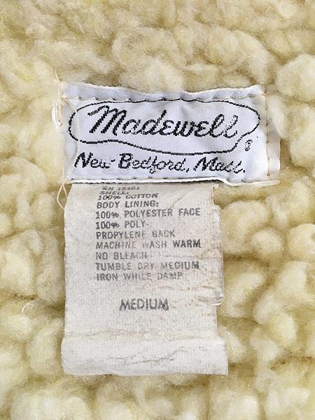 [8] 古着 70s Madewell ボア ライナー ブラウン ダック ワーク ベスト スナップボタン M 古着